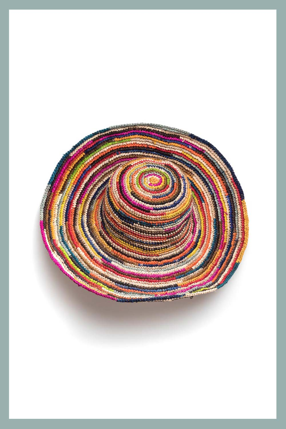 CAPPELLO RAFFIA CROCHET MULTI COULEUR
