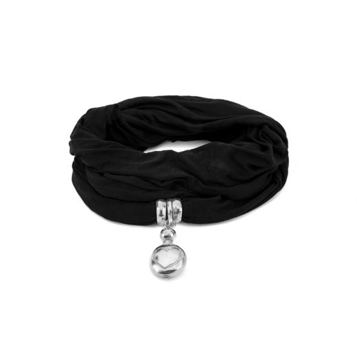 JEWELRY SCARF NOIRE RONDE PLATTE A/COEUR