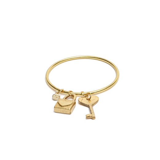 BANGLE 2 PENDANT BRACELET (PADLOCK / KEY)