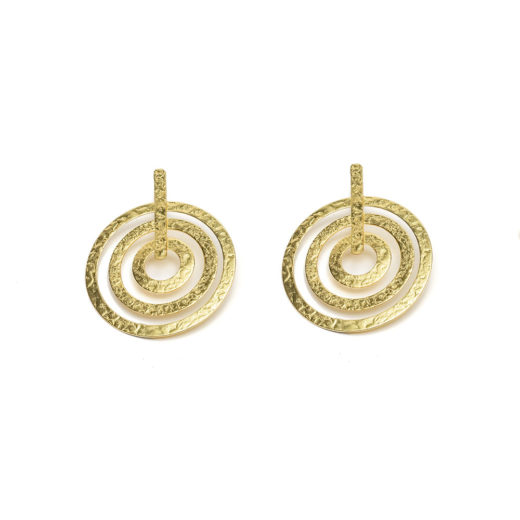 EARRINGS 3 BATTED CONCENTRIC RIMS
