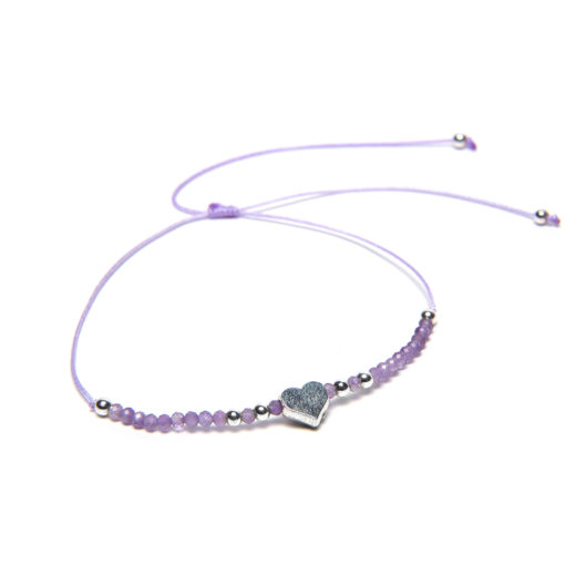 ADJUSTABLE STRING HEART AMETHYST BRACELET