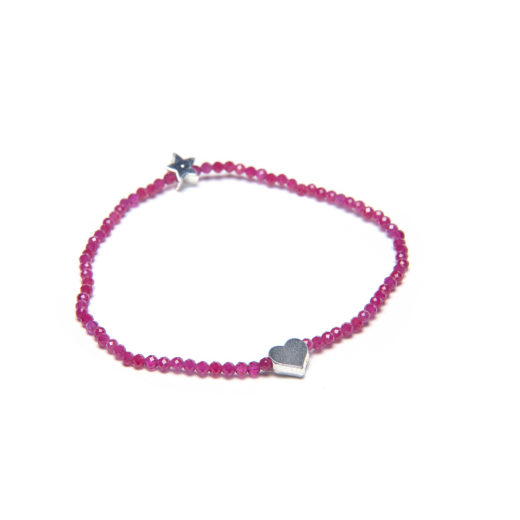HEART/STAR ELASTIC RUBY BRACELET