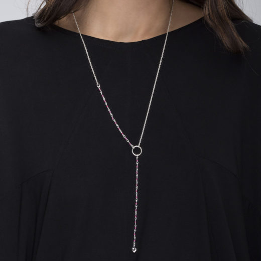 RUBY  HEART Y NECKLACE