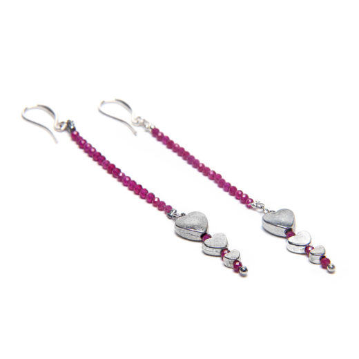 STRAND HEARTS RUBY EARRING