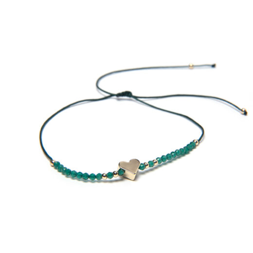 ADJUSTABLE STRING HEART EMERALD BRACELET