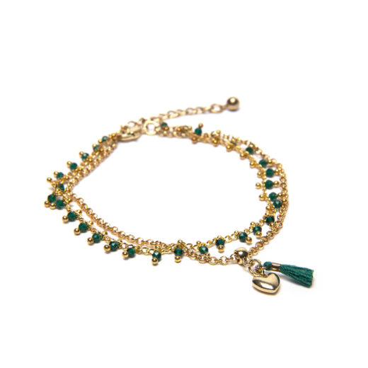 DOUBLE CHAIN TASSEL EMERALD BRACELET