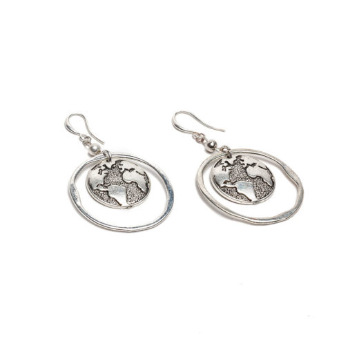 WORLD MAP HOOP EARRINGS