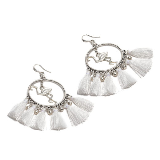 FLAMINGO/TASSEL EARRINGS