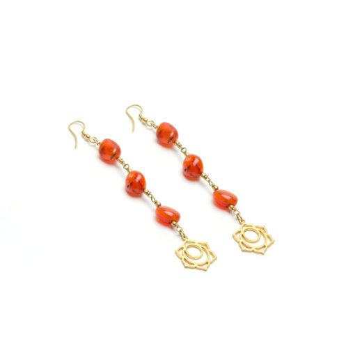 LOTUS CARNELIAN STONE EARRINGS