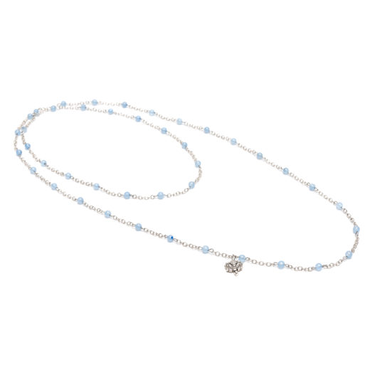 NECKLACE FLOWER LIGHT BLUE AGATE