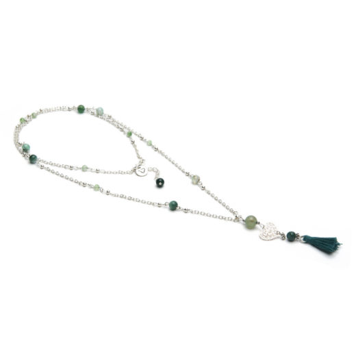 MINI TASSEL NECKLACE GREEN TOURMALINE