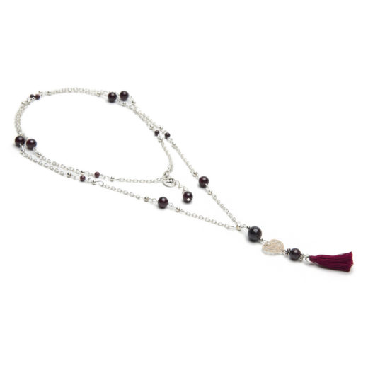 MINI TASSEL NECKLACE GARNET