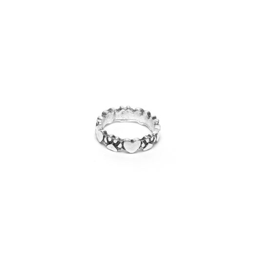 EMBOSSED FOOTPRINTS HEART RING