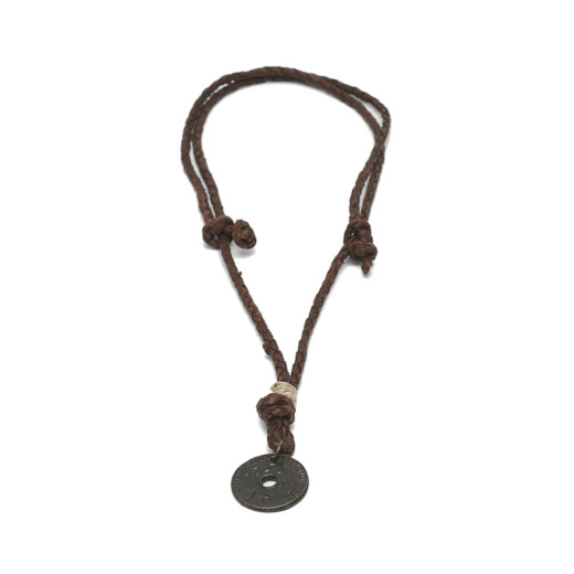 NECKLACE ADJUSTABLE LEATHER AND PENDANT COIN