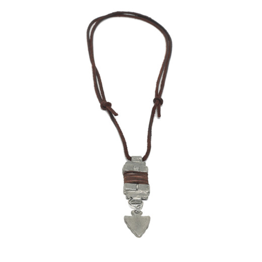 NECKLACE ADJUSTABLE LEATHER AND PENDANT METAL