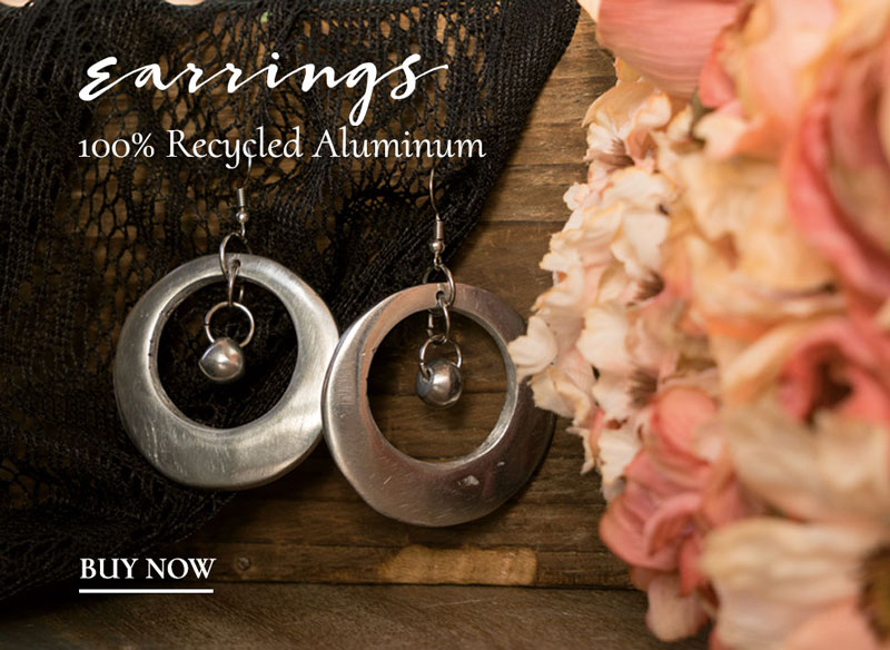 earrings 100% recycled aliminum